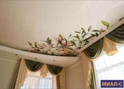 Сатиновый потолок с рисунком
