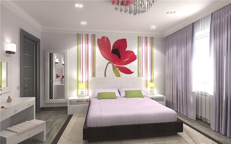 Спальня с отдельными вставками на стенах