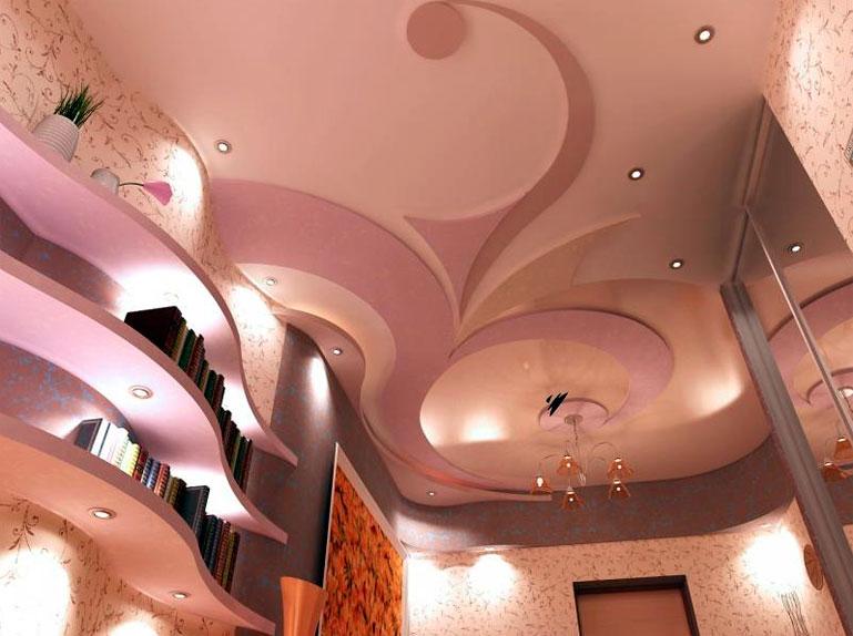 Потолки с гипсокартона с подсветкой фото