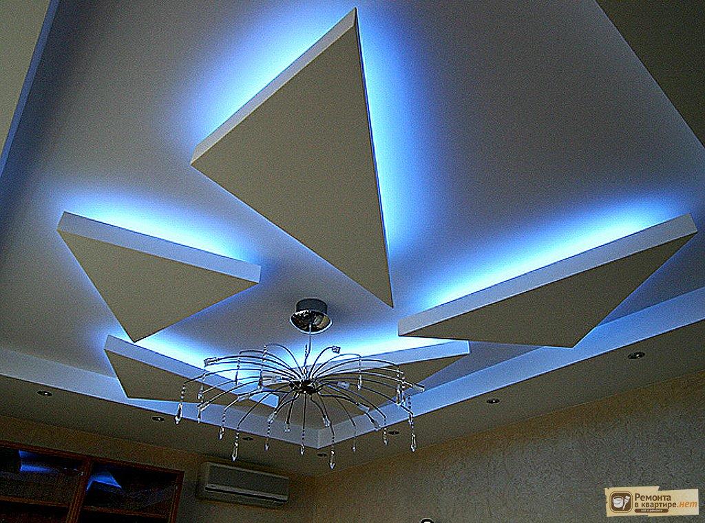 Потолок из гипсокартона с подсветкой фото
