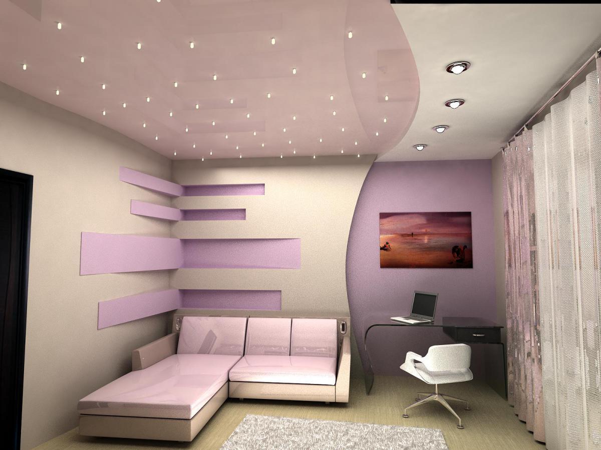 Гипсокартонные потолки с точечной  подсветкой